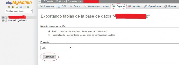 Exportar base de datos